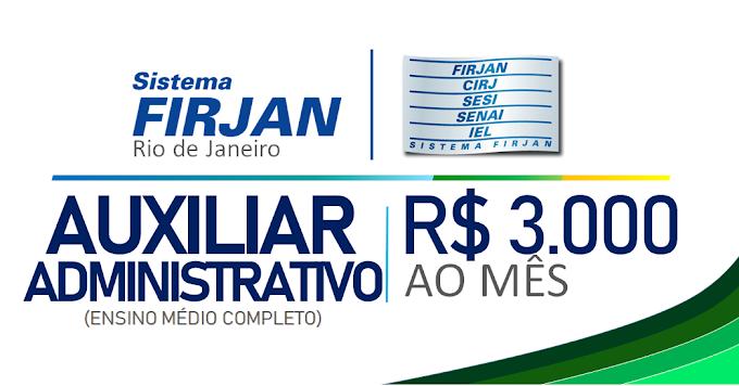 Seleção Firjan-RJ para candidatos que possuem Ensino Médio, com salário de R$3.000,00