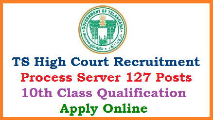 Telangana State Judicial District Courts Process Server Recruitment Notification 2019 in Telangana District courts in the Telangana Judicila Ministerial Service as per Telangana Judicial Ministerial and Subordinate Service Rules carrying Pay Scale 15,460 - 47,330. Online Applications are invited from eligible interested aspirants for the 127 vacancies of Process server in District courts. Submission of Online Application, Downloading of Hall Tickets Exam Dates Selection Procedure Results Selection List you ma get here. The detailed examination schedule for the centralized recruitment of Judicial Ministerial posts conducted by the High Court, will be posted in the High Courts official website www.hc.ts.nic.in and also in the website of all the District Courts in the State of Telangana www.districts.ecourts.gov.in/telangana ts-high-court-process-server-vacancies-recruitment-apply-online-hall-tickets-results-download