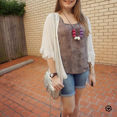 awayfromblue instagram jeanswest animal print tank bermuda denim shorts rebecca minkoff mini MAC