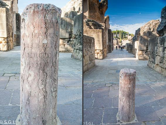 Columna del anfiteatro de Italica. La ciudad romana de Sevilla