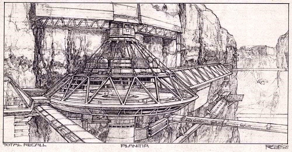 Colony exterior concept for Total Recall (1990) movie by Ron Cobb.
