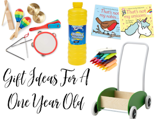 Small image that links to 'Gift Ideas For A One Year Old' The image includes musical instruments, bubble mix, books, crayons and a push along trolley.