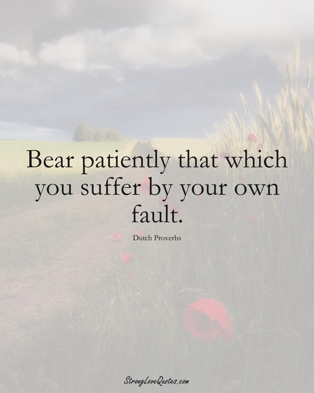 Bear patiently that which you suffer by your own fault. (Dutch Sayings);  #EuropeanSayings