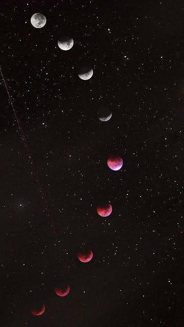 صورة وخلفية هاتف لمراحل ظاهرة القمر الأحمر Blood moon Red Moon