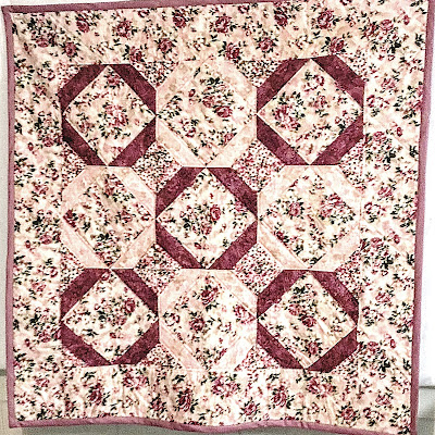 Pink Floral Quilt, lap robe, throw