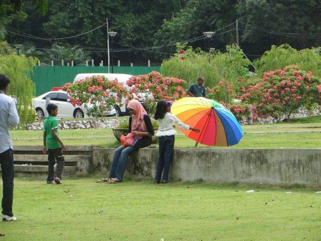у девочки разноцветный зонтик