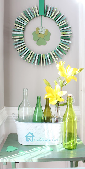 celebrate st. patrick's day with a green clothespin wreath