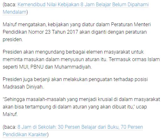 gambar Presiden Jokowi Batalkan Program Sekolah 8 Jam Sehari
