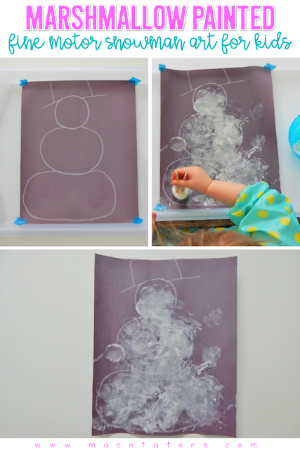 Marshmallow Painted Snowman FIne Motor Activity