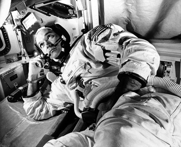 Columbia command module pilot Michael Collins takes a break from his Apollo 11 mission training at NASA's Kennedy Space Center in Florida...on June 19, 1969.