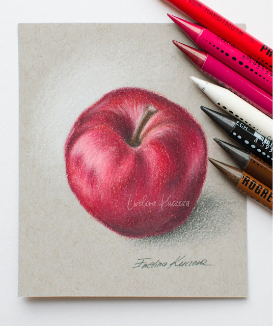 How to draw an apple with colored pencils - step by step tutorial