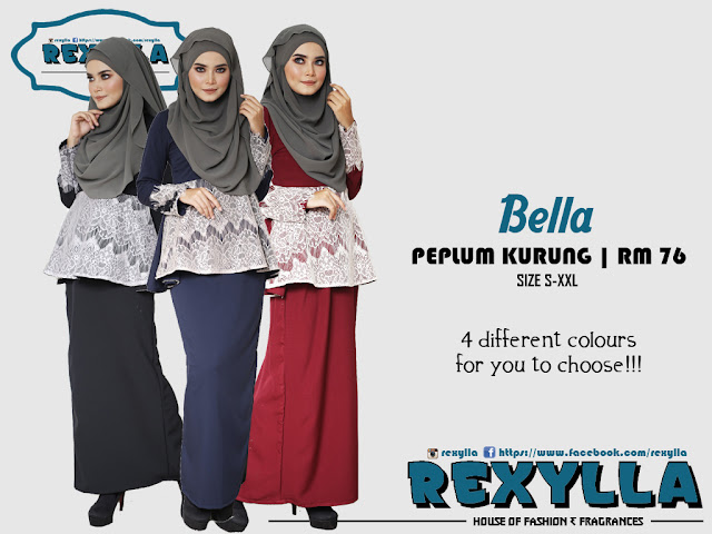 rexylla, baju kurung, peplum, peplum kurung, bella collection