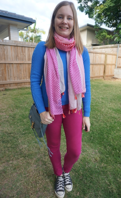 blue and magenta pink skinny jeans knit jumper outfit with striped scarf school run winter | awayfromblue