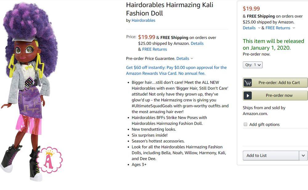 Шарнирная кукла Хэрдораблс Кали серия Hairmazing 2020