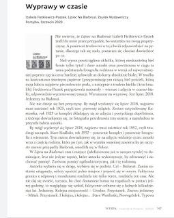 """Fragment recenzji Katarzyny Chmiel z """"Czytam duszkiem"""" tomiku """"Lipiec na Białorusi"""" opublikowanej w Kwartalniku Literackim """"WYSPA"""" nr 3/2020"""