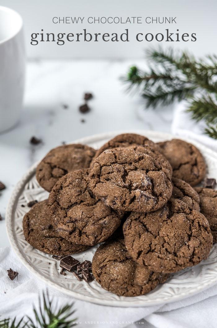 Plate of chocolate gingerbread cookies