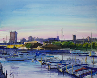 A watercolor painting of the boat harbor in Buffalo NY.