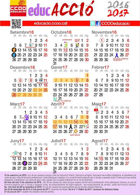 Calendari escolar 2016-2017 ~ @CCOOEducacio