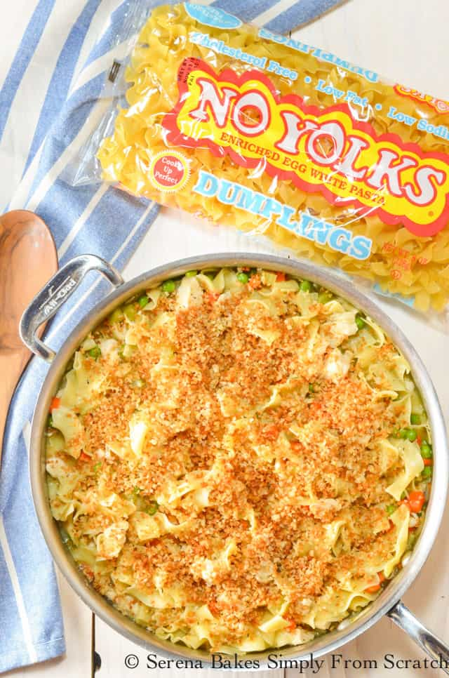 Chicken Noodle Skillet with Panko Bread Crumbs is like chicken noodles casserole but easier in under 25 minutes from Serena Bakes Simply From Scratch.
