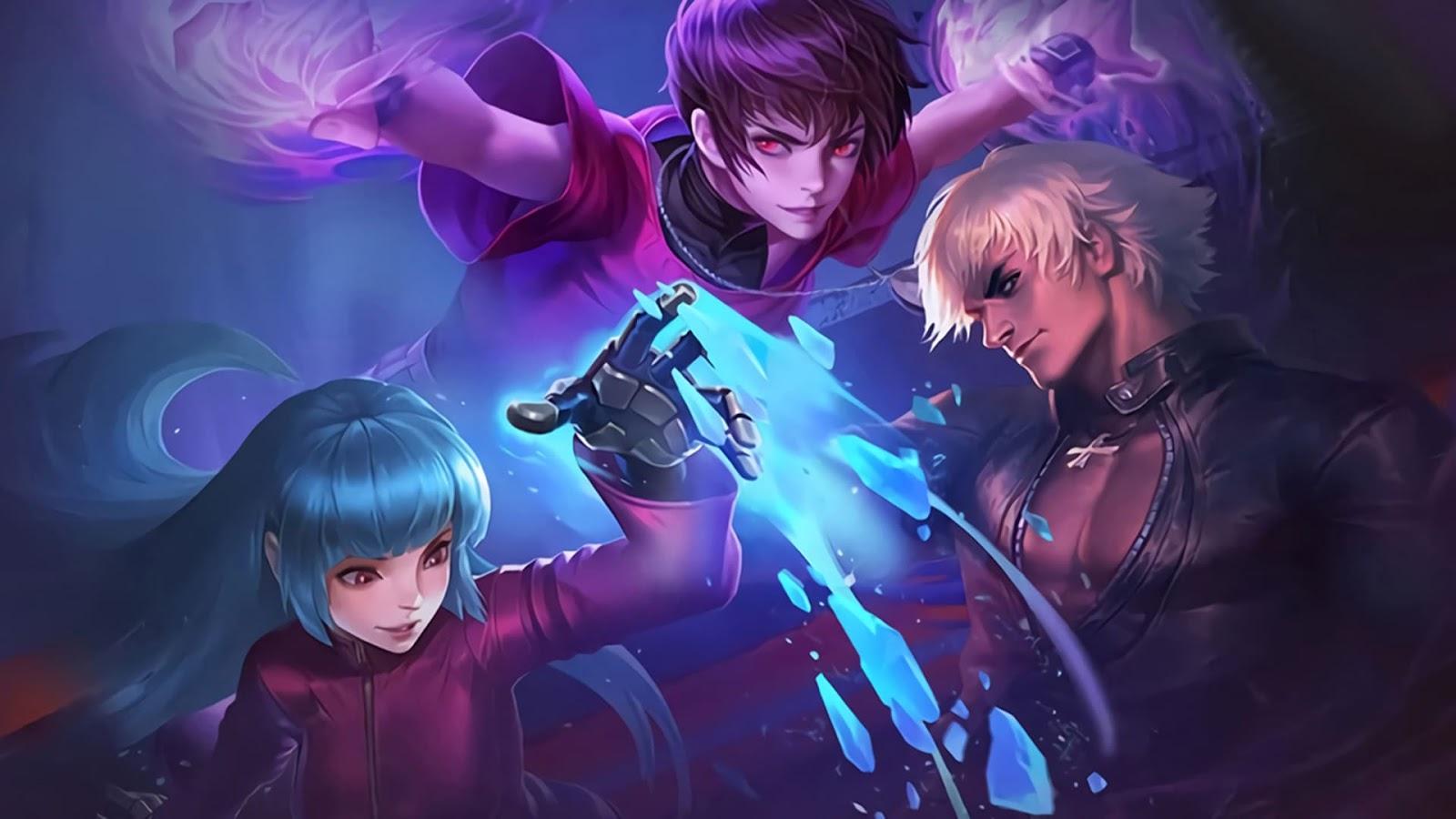 Wallpaper Dyrroth Orochi Chris, Aurora Kula Diamond, Gusion K'KOF Mobile Legends Skin HD for PC