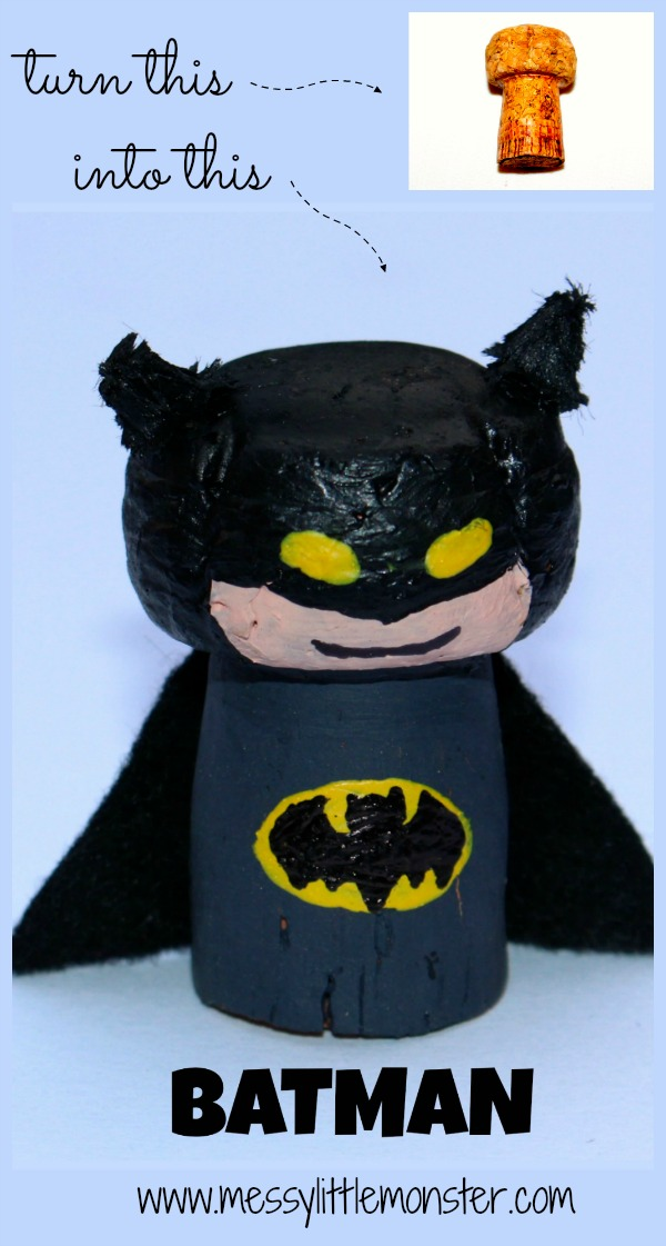 Batman craft idea for kids. Great for superhero small world play. Recycled cork crafts.
