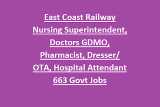 East Coast Railway Nursing Superintendent, Doctors GDMO, Pharmacist, Dresser/OTA, Hospital Attendant 663 Govt Jobs