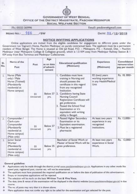 Paschim Medinipur Recruitment