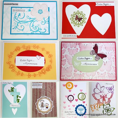 Gemischte Kommunionkarten Stampin' Up! www.eris-kreativwerkstatt.blogspot.de