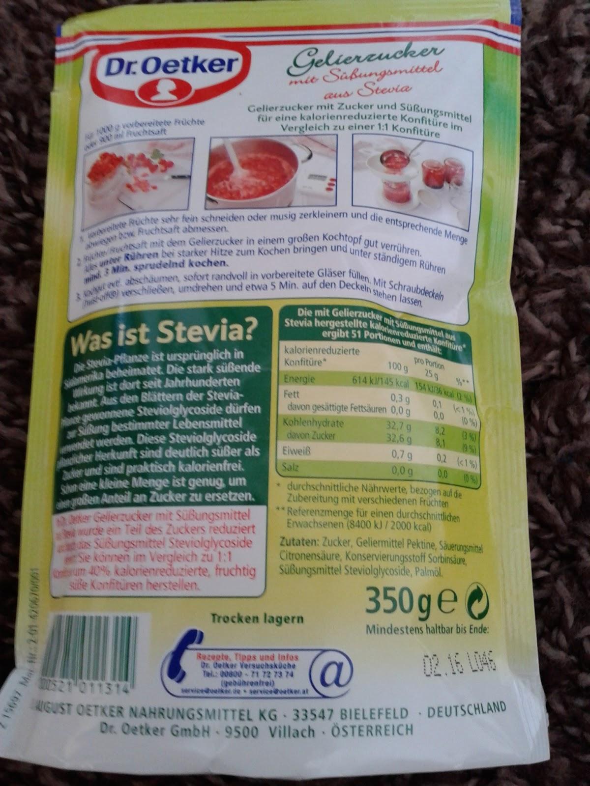 hallo produkttester dr oetker gelierzucker mit s ungsmittel aus stevia. Black Bedroom Furniture Sets. Home Design Ideas