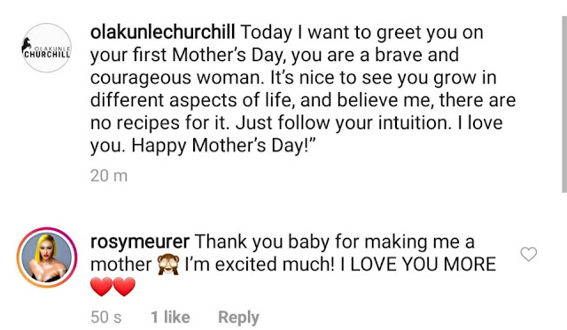 """Thank you baby for making me a mother""- Rosy Meurer tells her husband Olakunle Churchill after he wished her a happy mothers day"