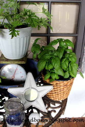Eclectic Red Barn: Herb garden on the deck, includes basil