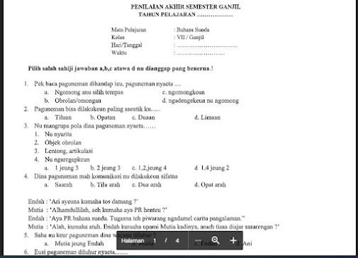 Soal PAS Bahasa Sunda Kelas 7 K13 Sem.1/Ganjil