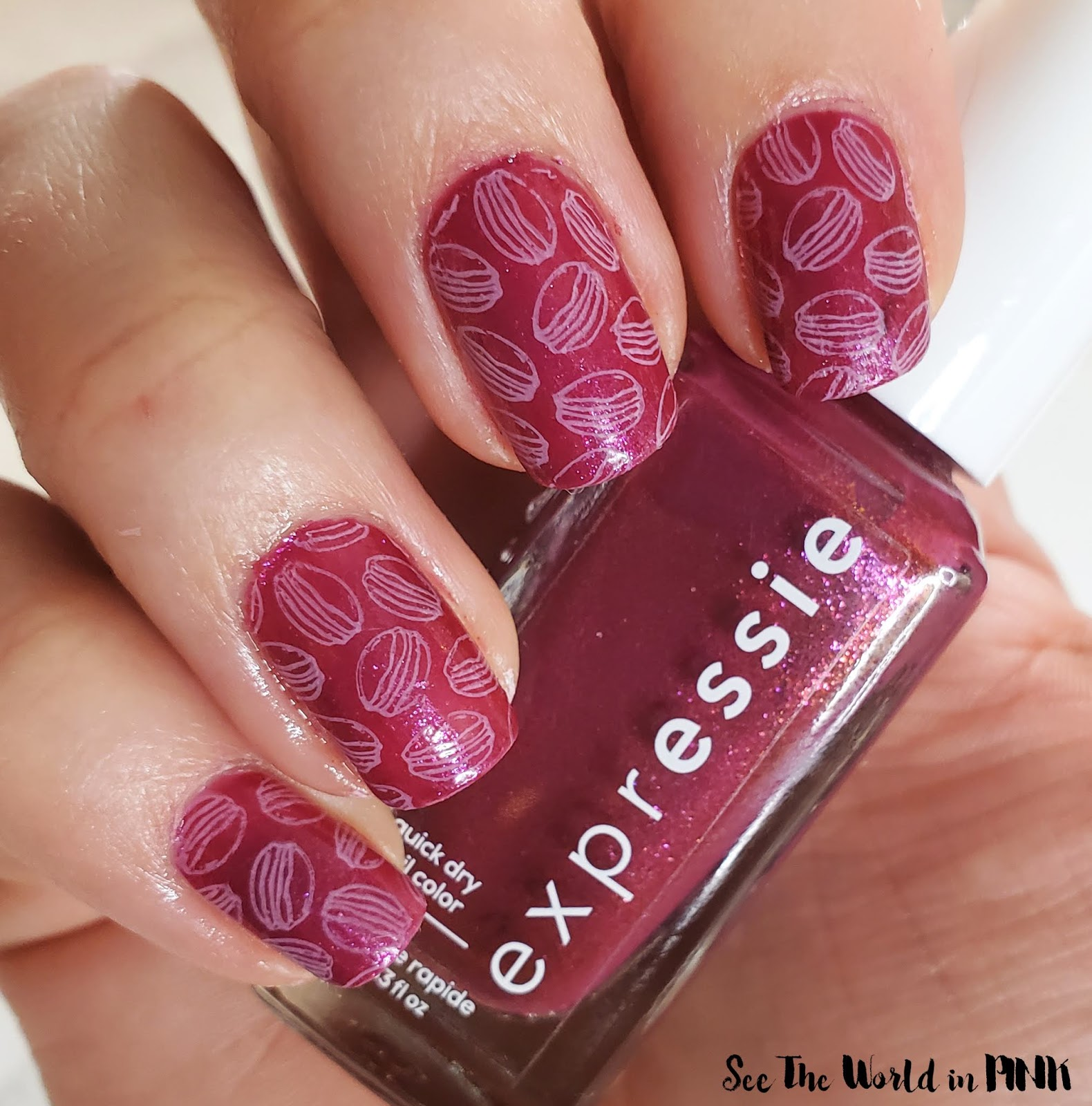 Manicure Monday - Essie Expressie and Pink Stamped Macarons