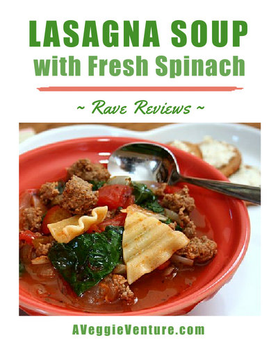 Lasagna Soup with Fresh Spinach ♥ AVeggieVenture.com, a healthy hearty soup, high protein.