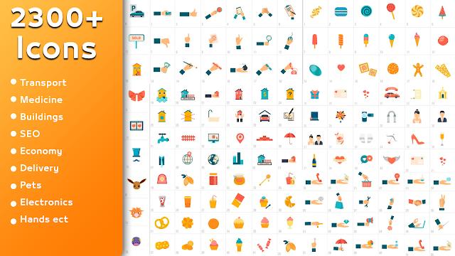 مجموعة رائعة من الأيقونات المتحركة لبرنامج 2300Animated Icons Pack   After Effects K ، حزمة أيقونات للأفترئفكت ، أيقونات متحركة للمونتاج