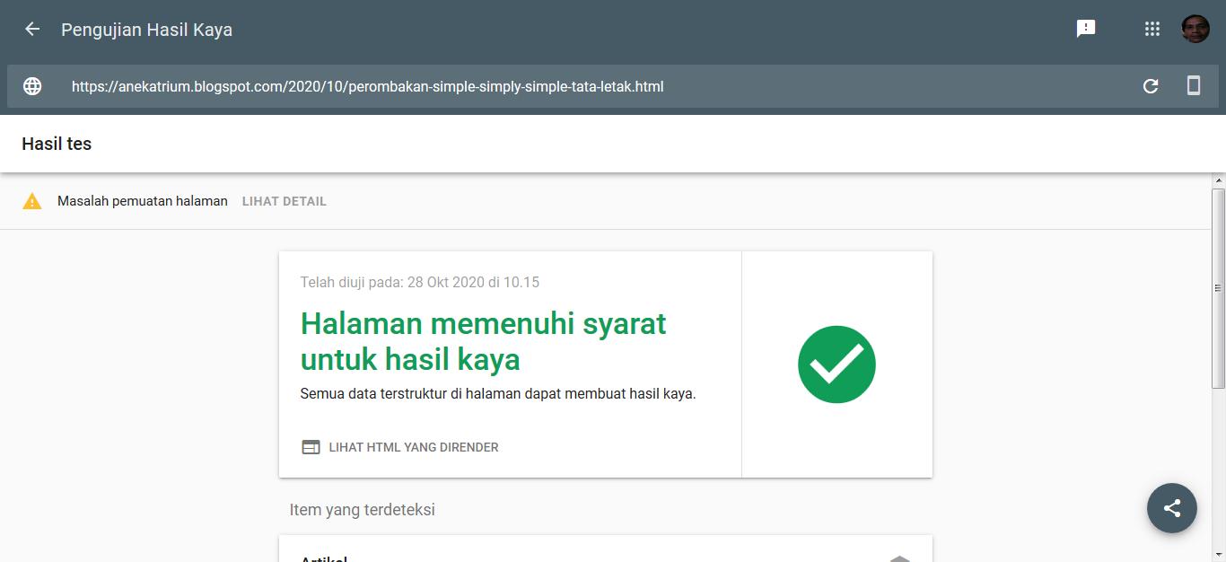 Google : Pengujian Hasil Kaya