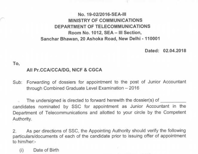 SSC CGL 2016 Allocation of CCA Officers to DoT Jr. Accountant PDF Download - Exam Tyaari