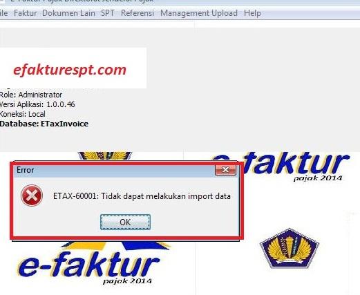 Muncul (Error ETAX-60001 Tidak Dapat Melakukan Import Data ...