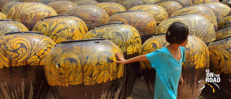 Colorful pots fom the pottery town of Twante in Burma