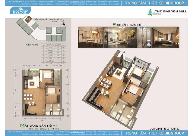Căn hộ A1 tầng 6-25, diện tích 78m2