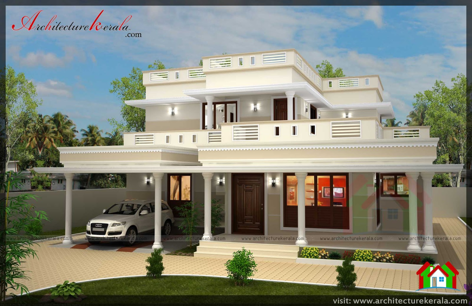 Stunning 4 bedroom kerala home design with pooja room free plan and elevation free kerala home - House plan design rooms ...