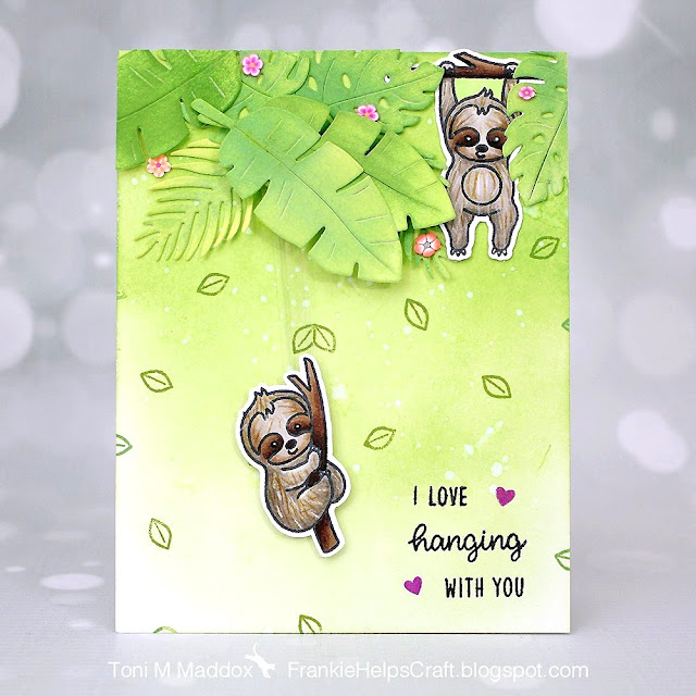 Sunny Studio Stamps: Silly Sloths Customer Card by Toni Maddox