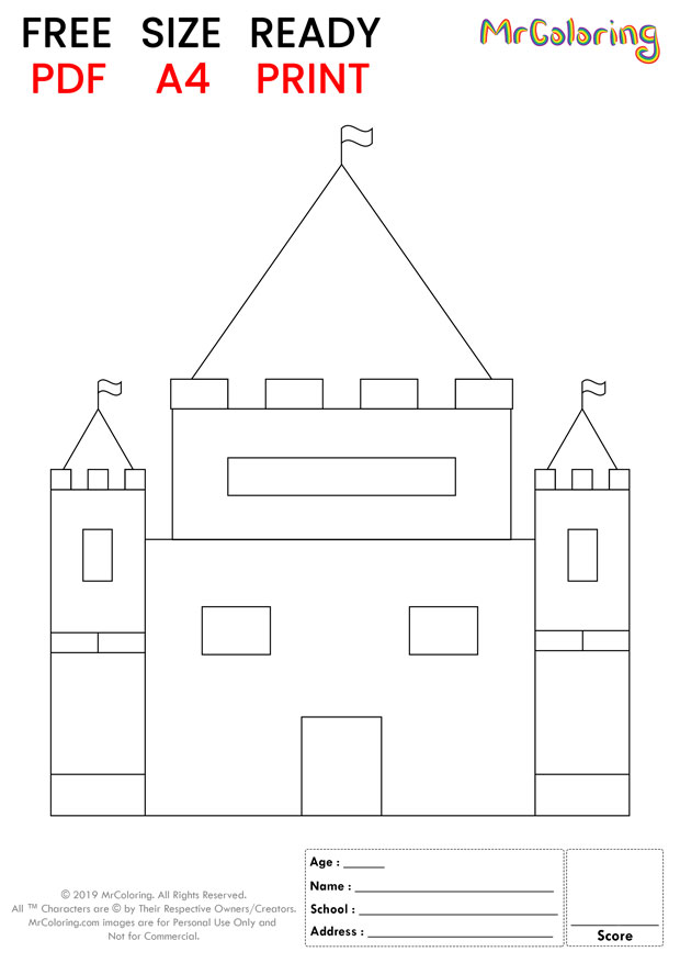 sand castle coloring pages flat tall for kids