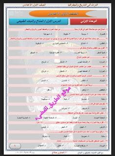 أسئلة إختيار من متعدد دراسات اجتماعيه للصف الاول الاعدادي الترم الثاني، مراجعة شهر مارس للاستاذ محمد الصاوي