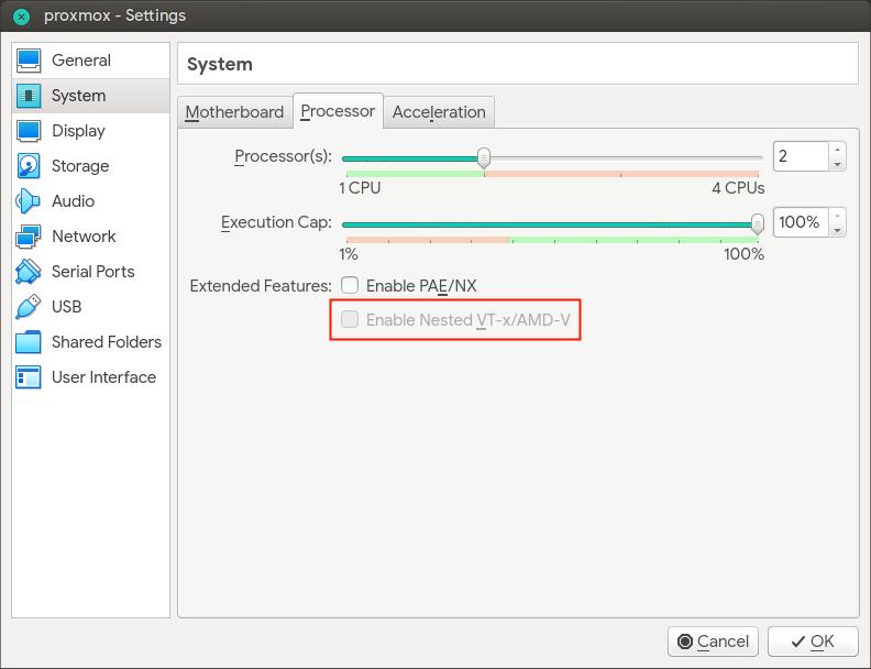 "Opsi ""Enable Nested VT-x/AMD-v"" masih disable"