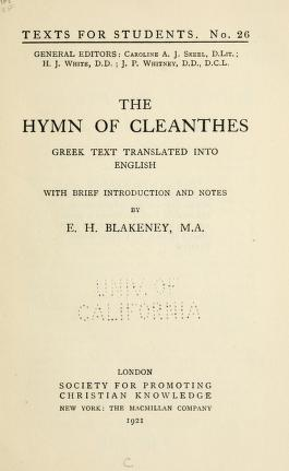 The hymn of Cleanthes free pdf book