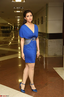 Mannara Chopra in Short Blue Dress at Rogue Movie Teaser Launch 1st March 2017 042.JPG