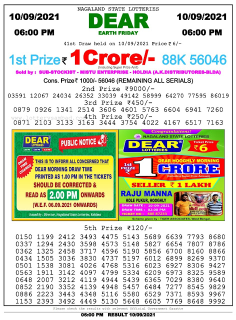 Nagaland State Lottery Result 10.9.2021 Today - 2pm, 6pm, 8pm