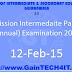 Admission Intermediate Part-I, II (Annual) Examination 2015