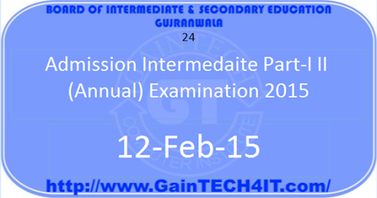 Admission Intermediate Part-I, II (Annual) Examination 2015 ~ GainTECH4IT